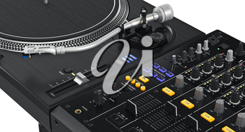 Black glossy dj mixer with large screen and control buttons, close view. 3D graphic