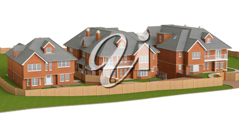 Residential cottage of bricks style homes. 3D graphic