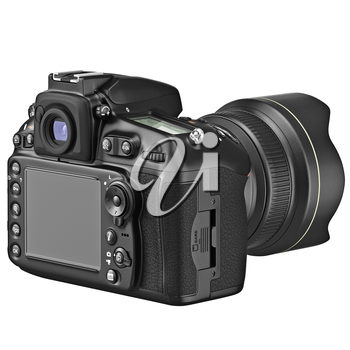 Photo camera with large LCD display. 3D graphic