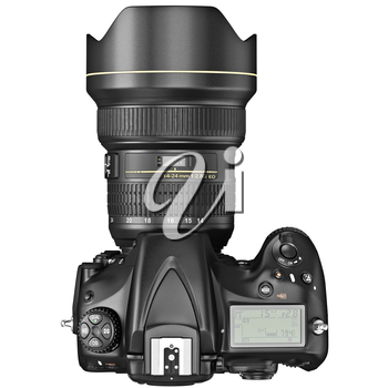 DSLR camera, lens optical zoom, top view. 3D graphic