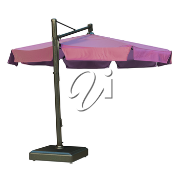 Purple open beach umbrella for rest. 3D graphic