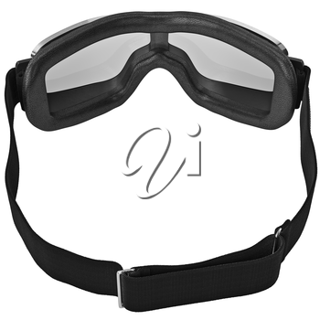 Vintage retro goggles with black strap for motorcyclist. 3D graphic