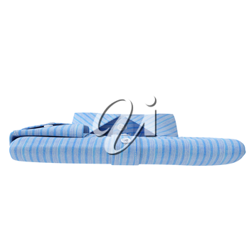 Classic folded stripes shirt blue, front view. 3D graphic