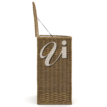 Big empty wicker basket on white background, side view. 3D graphic
