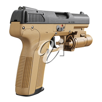 Gun beige military, police with flashlight. 3D graphic