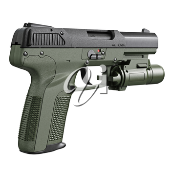Gun military, police with flashlight. 3D graphic