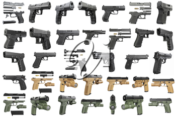 Set guns police, military, black on white background isolated. 3D graphic