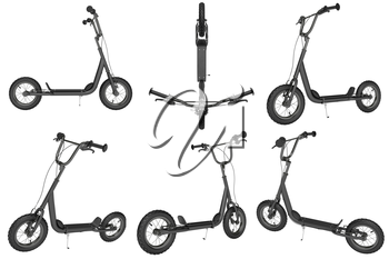 Set kick scooter with hand brakes. 3D Graphic