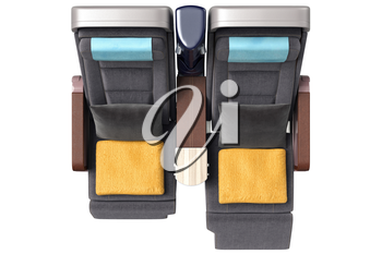 Passenger aircraft chairs with yellow towels, top view. 3D graphic