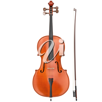 Cello classical wood with bow, front view. 3D graphic