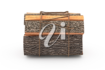 Firewood bunch stack dry chopped, front view. 3D graphic