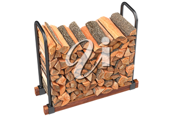 Firewood stack yellow chopped woodpile. 3D graphic