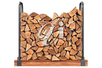 Firewood stack chopped with bark, front view. 3D graphic