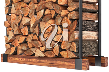 Firewood stack with bark on metal rack, close view. 3D graphic