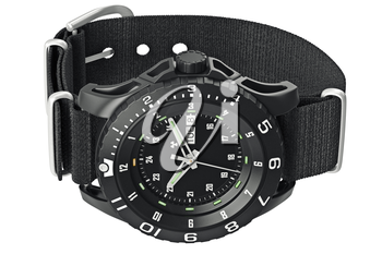 Modern military watch on wrist with metal arrow. 3D graphic