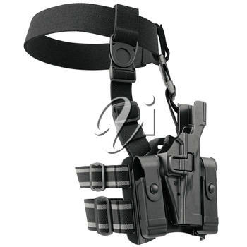 Holster on belt for gun uniform for security. 3D graphic