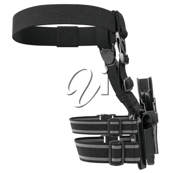 Holster plastic on belt with fastening, back view. 3D graphic