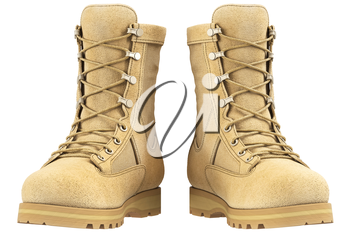 Military boots suede, front view. 3D graphic