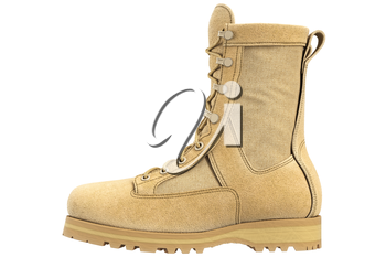 Military boots suede army uniforms, side view. 3D graphic