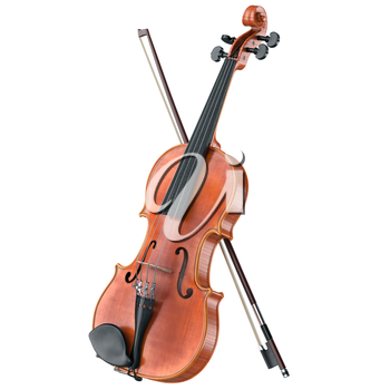 Violin stringed classical musical equipment. 3D graphic