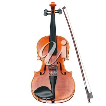 Violin classical stringed musical instrument, front view. 3D graphic