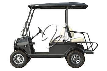 Golf car electric vehicle, side view. 3D graphic