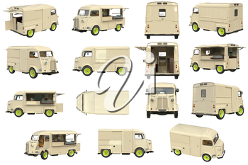 Food truck beige cafe on wheels set. 3D graphic