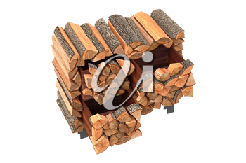 Wood cabinet chopped logs ethno style. 3D graphic