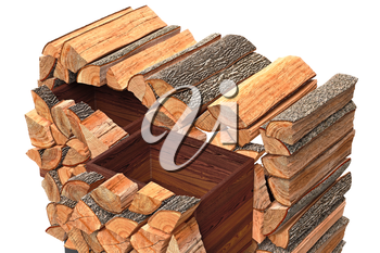 Wood cabinet logs country style, close view. 3D graphic