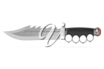 Knife steel blade with old-fashioned style handle. 3D graphic