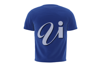 T-shirt mens blue satin casual clothes, back view. 3D graphic