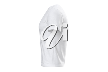 T-shirt white fabric design short sleeves, side view. 3D graphic
