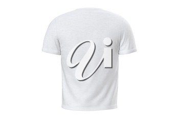 T-shirt mens white satin casual clothes, back view. 3D graphic