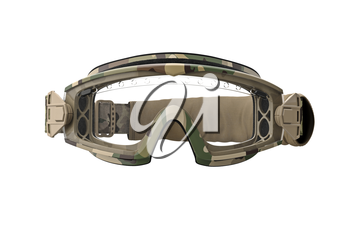 Military goggles, khaki camouflage protection, front view. 3D graphic