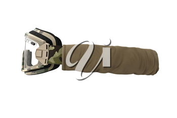Military goggles, army eyeglass protection for soldiers, side view. 3D graphic