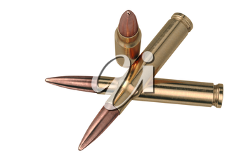 Bullet rifle brass metal shell. 3D graphic