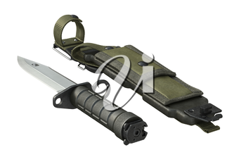 Knife army equipment green scabbard. 3D rendering
