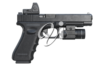Gun weapon military with modern flashlight, side view. 3D rendering