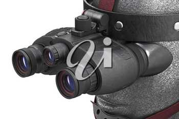 Night vision army equipment infantry wearing, close view. 3D rendering