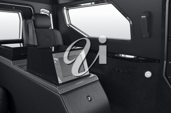 Car interior leather seat with display. 3D rendering