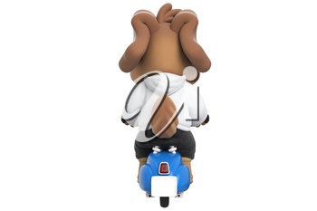 Cartoon funny dog on blue toy scooter, back view. 3D rendering