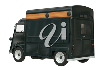 Food green car eatery on wheels, dark green color. 3D rendering
