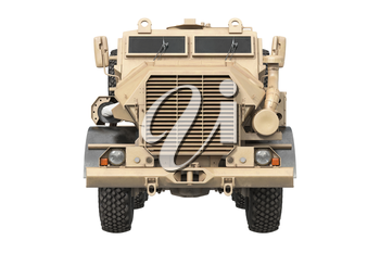 Truck military beige modern transportation car, front view. 3D rendering