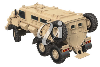 Truck military defense transportation beige car. 3D rendering