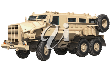 Truck military beige armored car transportation. 3D rendering