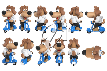 Cartoon dog cute character on blue scooter set. 3D rendering