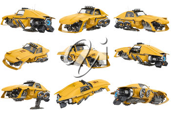 Future car flying with futuristic engine set. 3D rendering