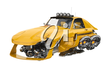 Future car flying with futuristic engine. 3D rendering