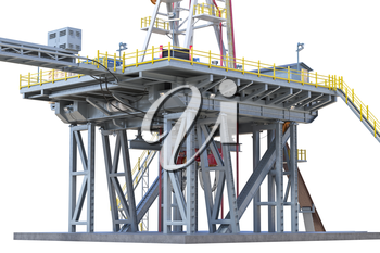 Land rig industrial equipment production gas, close view. 3D rendering