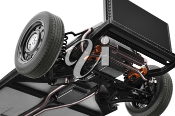 Chassis frame car with wheel, bottom view, close. 3D rendering